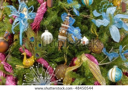 christmas tree blue and pink decorated backgrounds - stock photo
