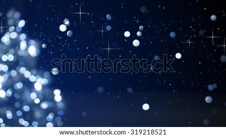 christmas tree blue decoration blurred lights  - stock photo