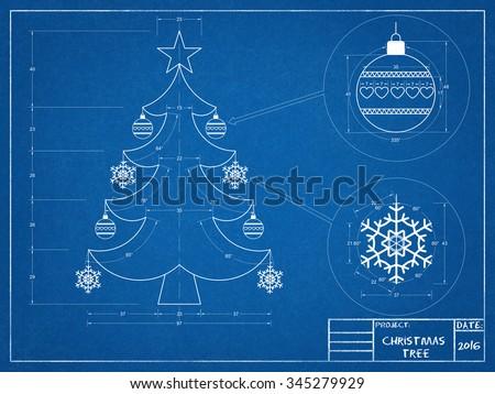 Christmas Tree Blueprint 2016 - stock photo