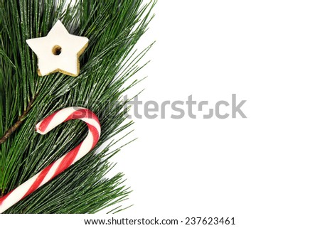 christmas tree border with candy cane and gingerbread - stock photo