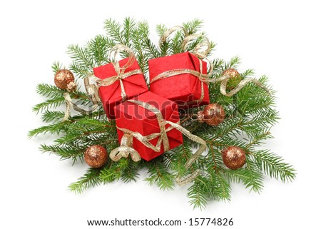 christmas tree bough and gift box isolated on white background