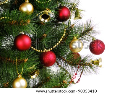 Christmas tree branch on white background - stock photo