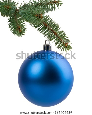 Christmas tree branch with a blue ball