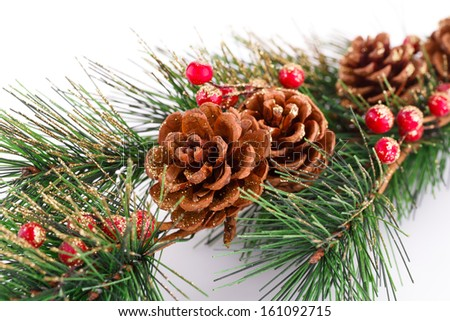 Christmas tree branch with cones on white background. - stock photo