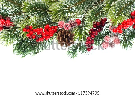 christmas tree branch with red decoration isolated on white background. - stock photo