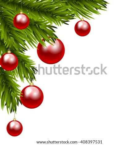 Christmas tree branch with three colorful baubles. Clip art - stock photo