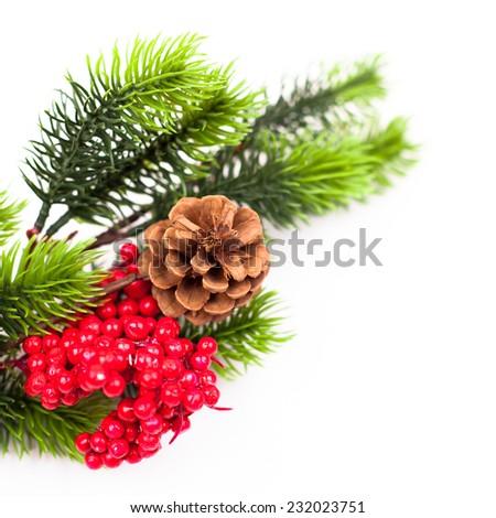 Christmas tree branches border over white. studio shot - stock photo