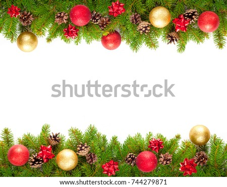christmas tree branches on white background stock photo 746515999