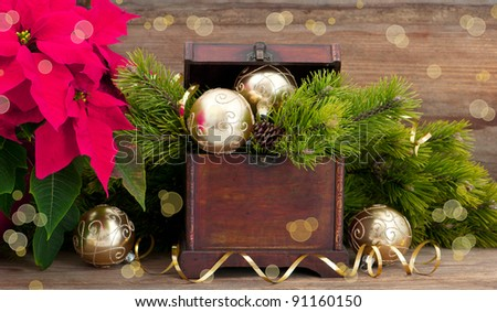 christmas tree brunch with golden decoration, vintage wooden box and pink christmas flower poinsettia - stock photo