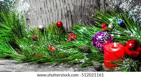 Christmas tree candle toys, wooden background