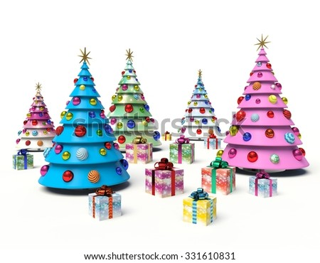 Christmas tree, Christmas baubles, gift boxes. 3d render illustration - stock photo