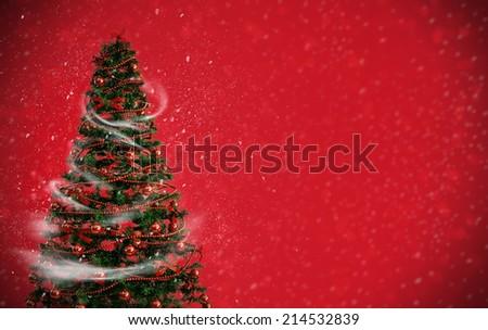 Christmas tree, christmas card template - stock photo