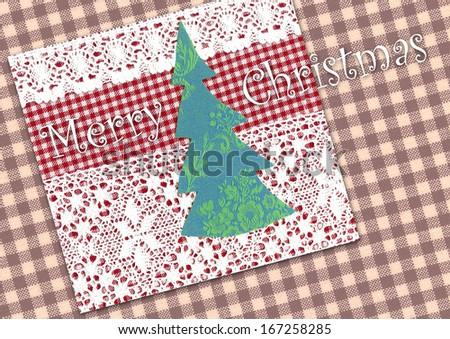 Christmas tree, Christmas decoration, card - stock photo