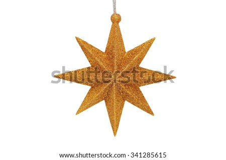 Christmas-tree Christmas toy six-pointed star isolated on a whit background - stock photo