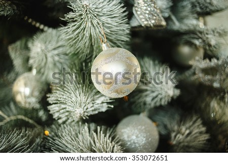 Christmas tree close up. Christmas tree decorated with balls