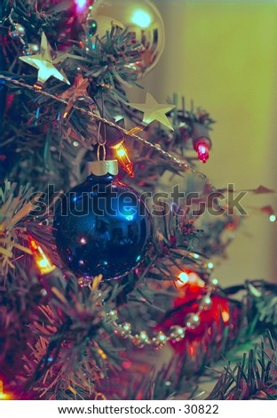 Christmas tree close up showing ornament detail. - stock photo