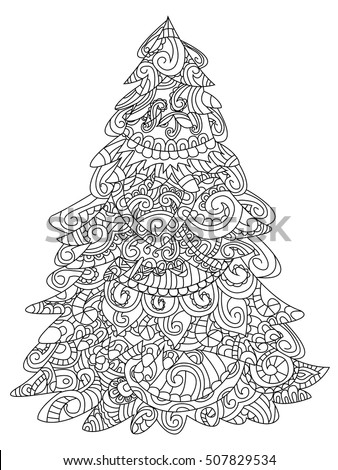 Christmas Tree Coloring Book Raster Illustration Stock Illustration ...