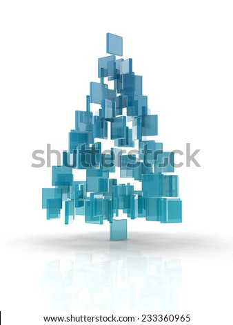 Christmas tree composed by glass cubes  on white background. - stock photo