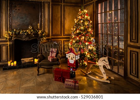Christmas Tree Fireplace Stock Images, Royalty-Free Images ...