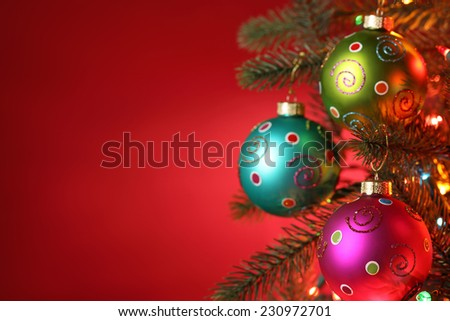 Christmas tree decorated with balls,Closeup. - stock photo