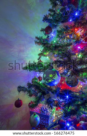 Christmas tree decorated with led lights - stock photo