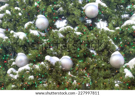 Christmas tree decorated with toys - stock photo