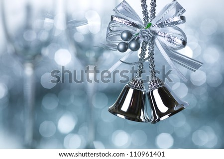 Christmas tree decoration against blue lights background - stock photo