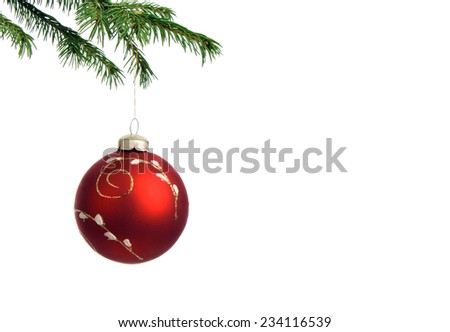 christmas tree decoration and branch fir on white background - stock photo