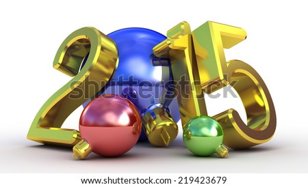 Christmas tree decoration and 2015 text - stock photo