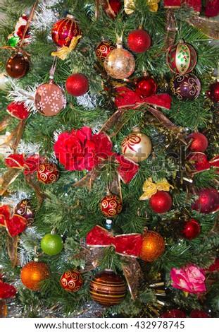 Christmas tree decoration background - stock photo