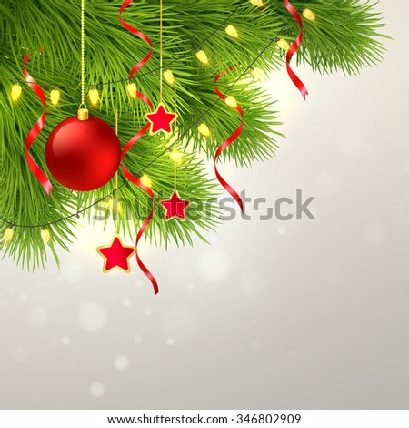 Christmas tree decoration background. illustration