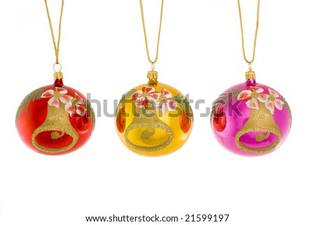 Christmas tree decoration ball isolated on a white