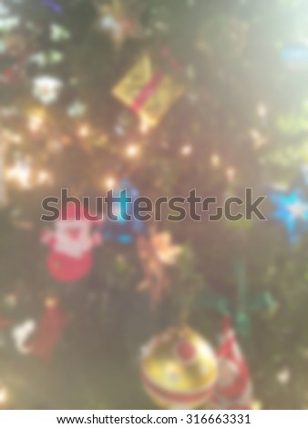 Christmas tree decoration blurred background for Christmas - stock photo