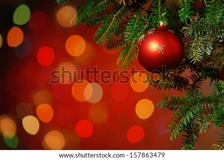 Christmas Tree Decoration Christmas tree lit background - stock photo
