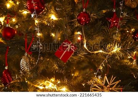 Christmas tree decoration close up - stock photo