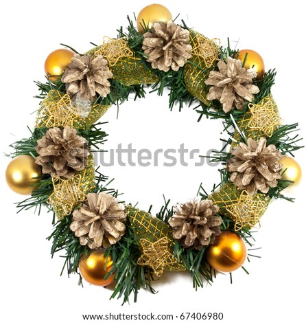 Christmas Tree Decoration garland. Isolated over white background - stock photo