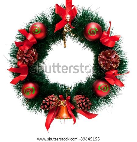 Christmas Tree Decoration garland. Isolated over white background - stock photo