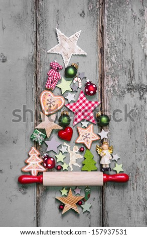 Christmas tree - decoration in shabby chic style - an idea for a greeting card  - stock photo