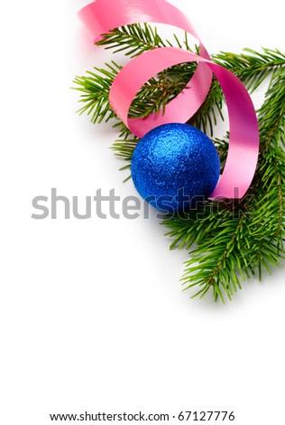 Christmas tree decoration isolated. - stock photo