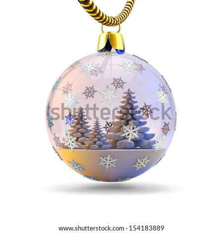 Christmas tree decoration isolated on white. Beautiful Christmas ball with the snowflakes with a Christmas tree inside it. - stock photo