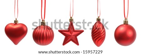 Christmas tree  decoration on white background - stock photo
