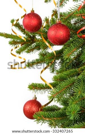 christmas tree decoration, white background - stock photo