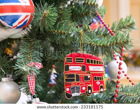 Christmas tree decoration with british symbols - stock photo