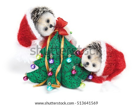 Christmas tree decoration with cute classic teddy hedgehogs. Fully handmade.