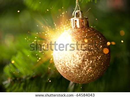 Christmas-tree decoration with shiny sparks