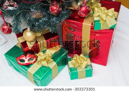 Christmas tree decorations and gifts in a festive interior