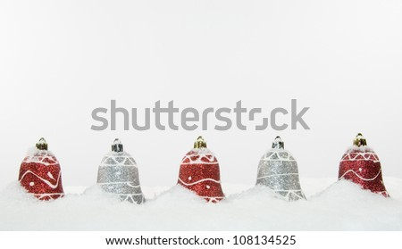 Christmas Tree Decorations and Snow - stock photo