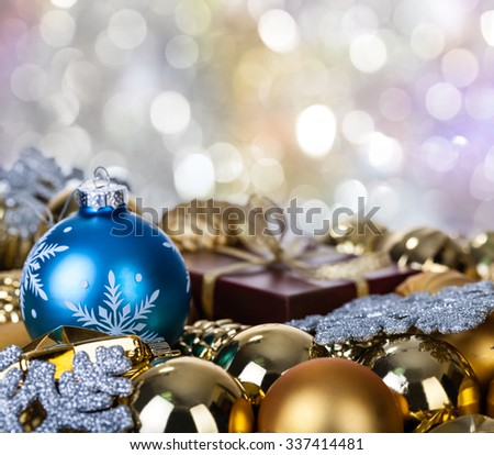 Christmas-tree decorations. Bright beautiful background.