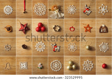 Christmas tree decorations collage on a wooden background. - stock photo
