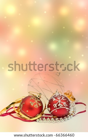 Christmas tree decorations on abstract background - stock photo